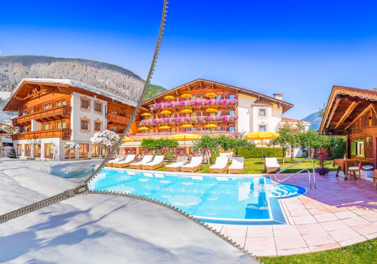 Giardino dell'Alpenhotel Tirolerhof**** in inverno e in estate