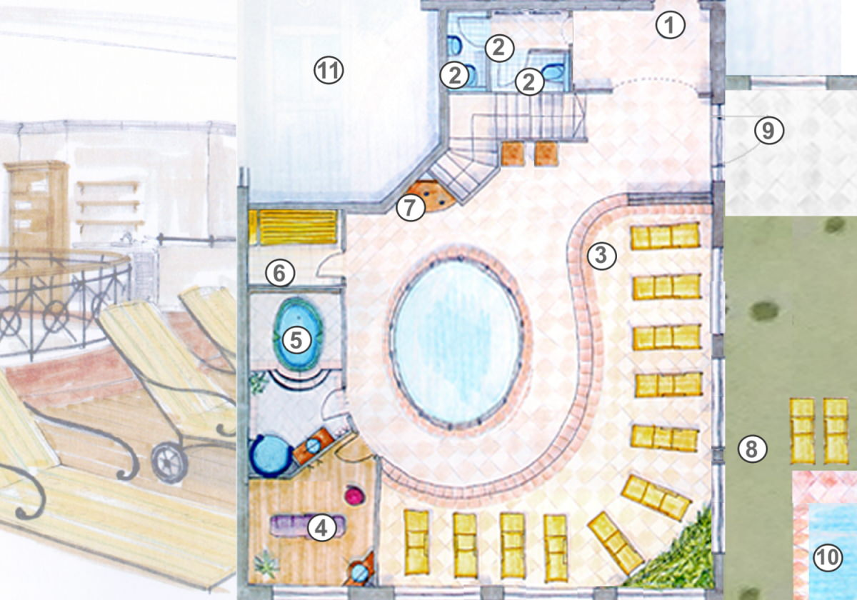 Skizze Erdgeschoss Wellnessbereich Alpenhotel Tirolerhof**** Neustift