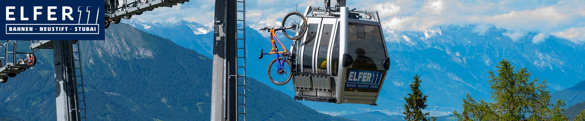 Elferbahnen gondola with mountain bike