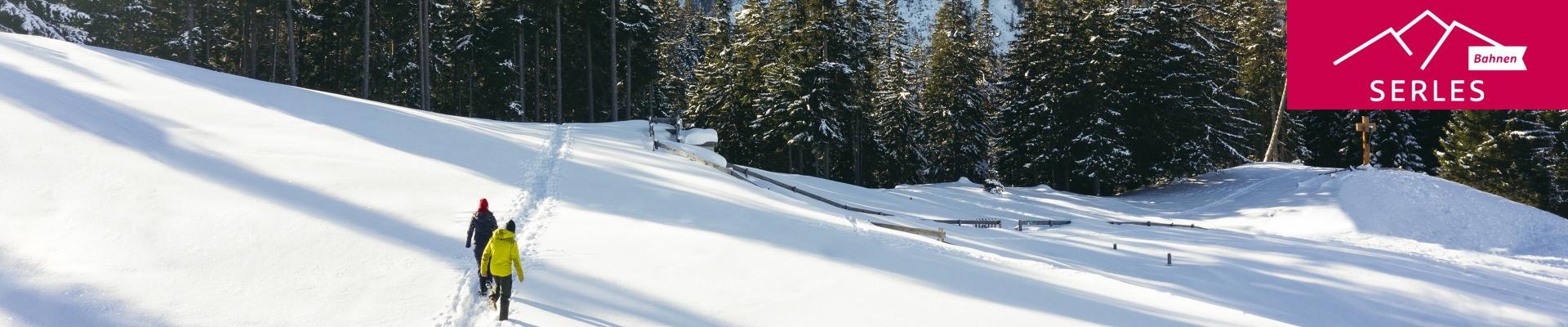 Randonnée hivernale dans la neige profonde à la Serlesbahnen